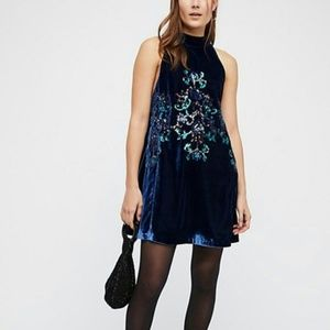 NEW Free People Velvet Sequined Blue Dress L